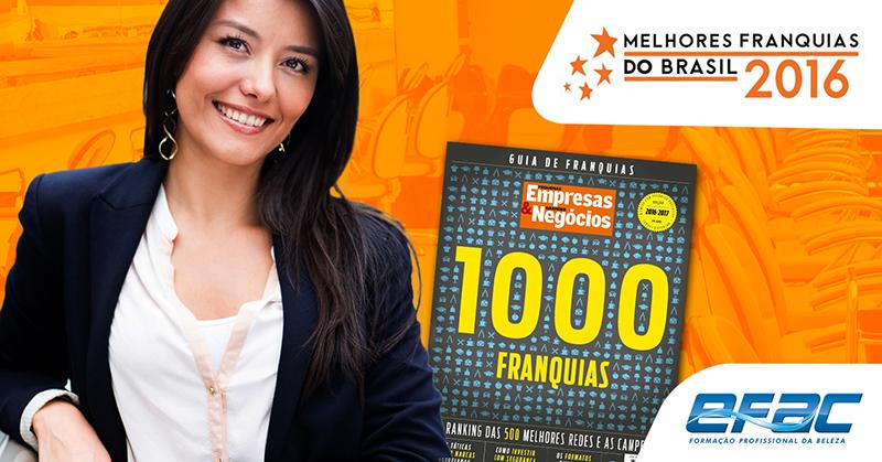 O site PEGN publicou nesse mês de junho, as 100 Redes de Franquias mais baratas do mercado e a EFAC está entre elas.